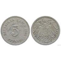 YS: Германия, Рейх, 5 пфеннигов 1905G, KM# 11