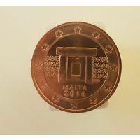 Мальта 2  евроцентов 2016 UNC из ролла