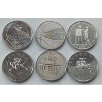 Литва 3 монеты по 1 литу UNC из ролла.