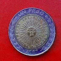 29-27 Аргентина, 1 песо 2007 г. Единственное предложение монеты данного года на АУ