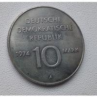 Германия - ГДР 10 марок, 1974 25 лет образования ГДР - Герб 6-10-6