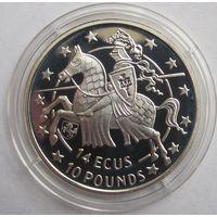 Гибралтар, 14 экю-10 фунтов, 1992, серебро, пруф