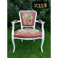 Винтажное Кресло в стиле Людовика, Гобелен, Европа.
