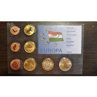 Пробный Евро Набор-1 Цент-2 Евро-Венгрия-2008-АЦ+сертификат