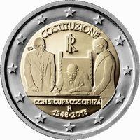 2 Евро Италия 2018 70 лет конституции UNC из ролла
