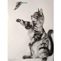 Картина акварель ,,кот и попугай,,