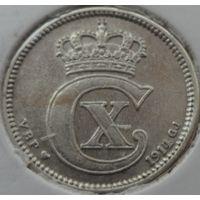 Дания 10 оре 1914 года. Буквы VBP GJ. Серебро. Нечастая!