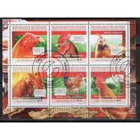 Республика Гвинея /2010/ Фауна / Домашняя Птица / Петухи / Лист 6 Марок