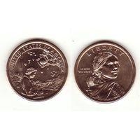1 доллар 2019 США, Сакагавея Инженер Мэри Голда Росс индейцы в космической программе (из рола) D США