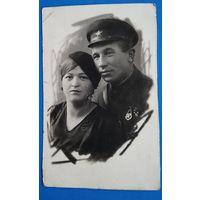 Фото военного с Женщиной. 1935 г. 9х14 см.