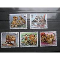 Марки - фауна, Буркина-Фасо, птицы, звери, гепарды, гриф