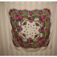 Платок НОВЫЙ Платок с павлопосадским русским узором 120х120см с бахромой Размер 120х120см, длина бахромы 16см Цвета фона: красный, белый