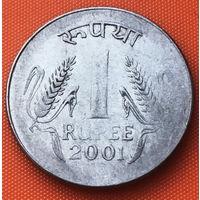 10-05 Индия, 1 рупия 2001 г. Калькутта