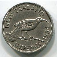 НОВАЯ ЗЕЛАНДИЯ - 6 ПЕНСОВ 1954