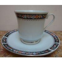 Чашка с блюдцем Незабудка, фарфор. Китай 80-е