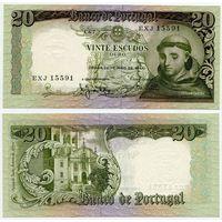 Португалия. 20 эскудо (образца 1964 года, P167b, подпись 3, aUNC)