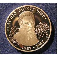 АНДОРРА 10 динер динар 1997 Монтеверди СЕРЕБРО ПРУФ АЦ UNC