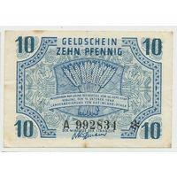 Французская зона оккупации Германии 10 пфеннигов Рейнланд-Пфальц, Кобленц 1947 года. Редкая! Состояние VF+