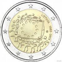 2 евро 2015 Литва 30 лет флагу UNC из ролла