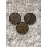 США 1 цент 1949, 1949 d,s г.,  набор монет 3 шт