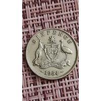 Австралия 6 пенсов 1954 г