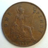1 пенни 1927 года. Великобритания, Георг 5. Монета А2-2-2