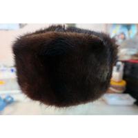 Шапка ушанка женская из светло-коричневой норки. Размер 56. (номер 2)