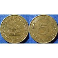 ФРГ, 5 пфеннигов 1980 J, монетный двор Гамбург