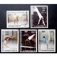 ЦАР 1984 г. 23-е Летние Олимпийские игры 1984 в Лос-Анджелесе. США. Гимнастика. Спорт, полная серия из 5 марок #0035-С1P7