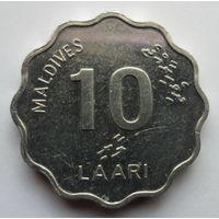 """Мальдивы 10 лаари 2007 """"Морское судно (оди), канат, завязанный морским узлом"""""""