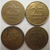 Филиппины 25 сентимо 1996, 2004, 2007, 2013 г. Цена за 1 шт. (g)
