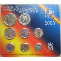 Испания годовой набор монет 2000 года. В банковской запайке! Состояние UNC!