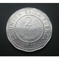 Боливия 2 боливано. 2012г.