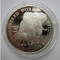 Острова Кука. 10 долларов 1990 Слоны. Серебро. Пруф     .4Е-14