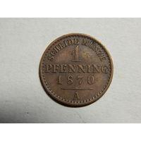 Пруссия 1 пфеннинг 1870г