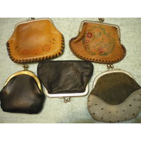 Кошельки кожанные из СССР - в коллекцию. 5 штук.