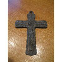 Крест нательный большой. Оловянно-цинковый сплав, литье, XIХ век.