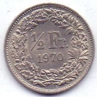 Швейцария, 1/2 франка 1970, 1971 гг.