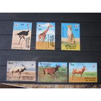 Марки, фауна, жираф, страус, гепард, и др. Нигер