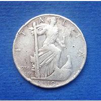 Италия 10 лир 1936 Серебро Редкость