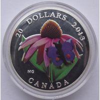 Монета Канады 20 долларов  2013г. (бабочка на цветке) цветная. под серебро. распродажа