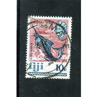 Фиджи. Ми-259.Рыба.Черный мерлин. Яхта. С надпечаткой - королевский визит 1970.