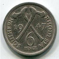 ЮЖНАЯ РОДЕЗИЯ - 6 ПЕНСОВ 1947