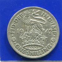 Великобритания 1 шиллинг 1942 , Английский , серебро