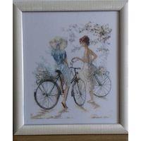 Вышитая картина''Велосипедистки''