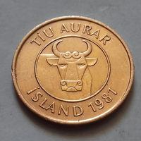 10 эйре (аурар), Исландия 1981 г.