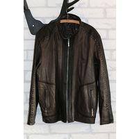 Красивая кожаная куртка ERCAN, 56р.,XXL