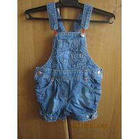 Полукомбез джинсовый - песочник для девочки, р.68-74-80