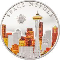 """Палау 5 долларов 2015г. """"Мир Чудес: Спейс-Нидл"""". Монета в капсуле; сертификат. СЕРЕБРО 20гр."""