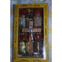 Христианские Благословения-обереги: (набор из распятия, оливкового масла из Вифлеема, земли из Иерусалима, воды из реки Иордан).